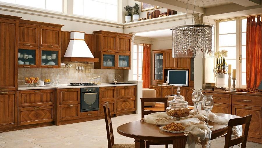 Phòng bếp với phong cách thiết kế cổ điển rộng rãi, đầy đủ tiện nghi