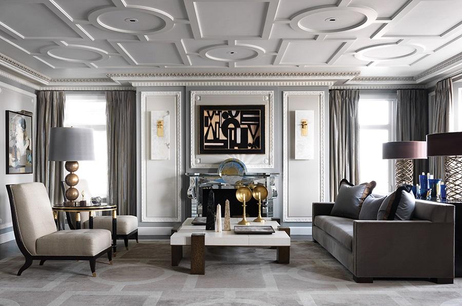 Phòng khách với phong cách thiết kế cổ điển tạo điểm nhấn sang trọng