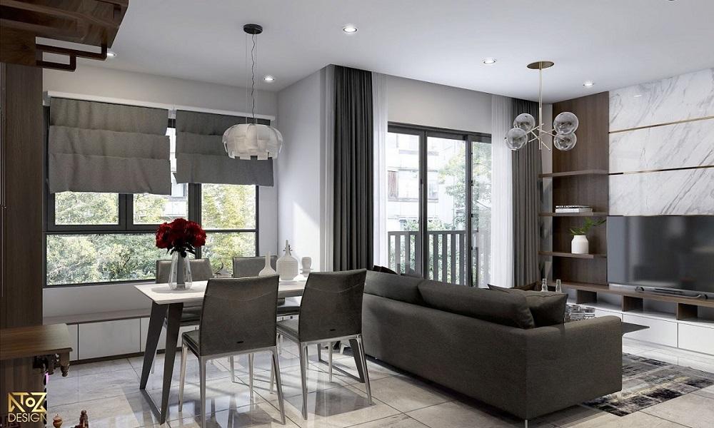 Phòng khách và nhà bếp liền kề giúp tiết kiệm tối đa không gian
