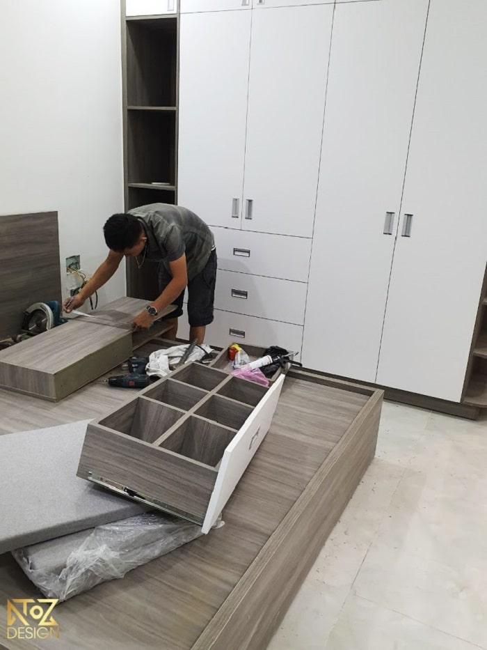 Quá trình thi công nội thất bởi nhân viên ATOZ Design