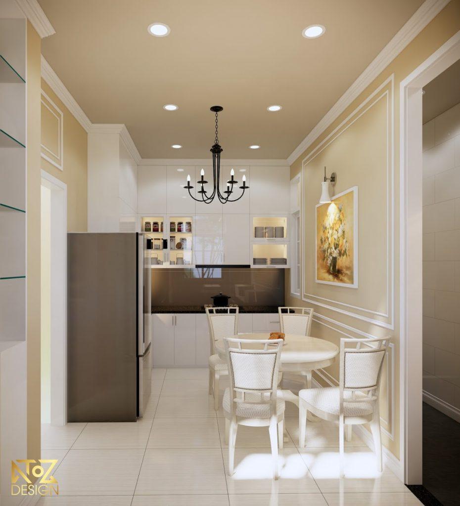Không gian phòng bếp với bộ bàn ăn đơn giản dành đủ cho một gia đình