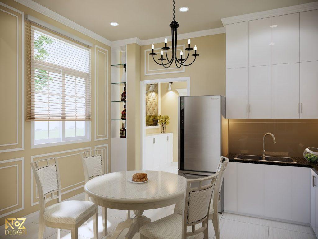 Kệ trang trí và đèn thả trần là những phụ kiện làm tăng thêm điểm nhấn cho căn nhà