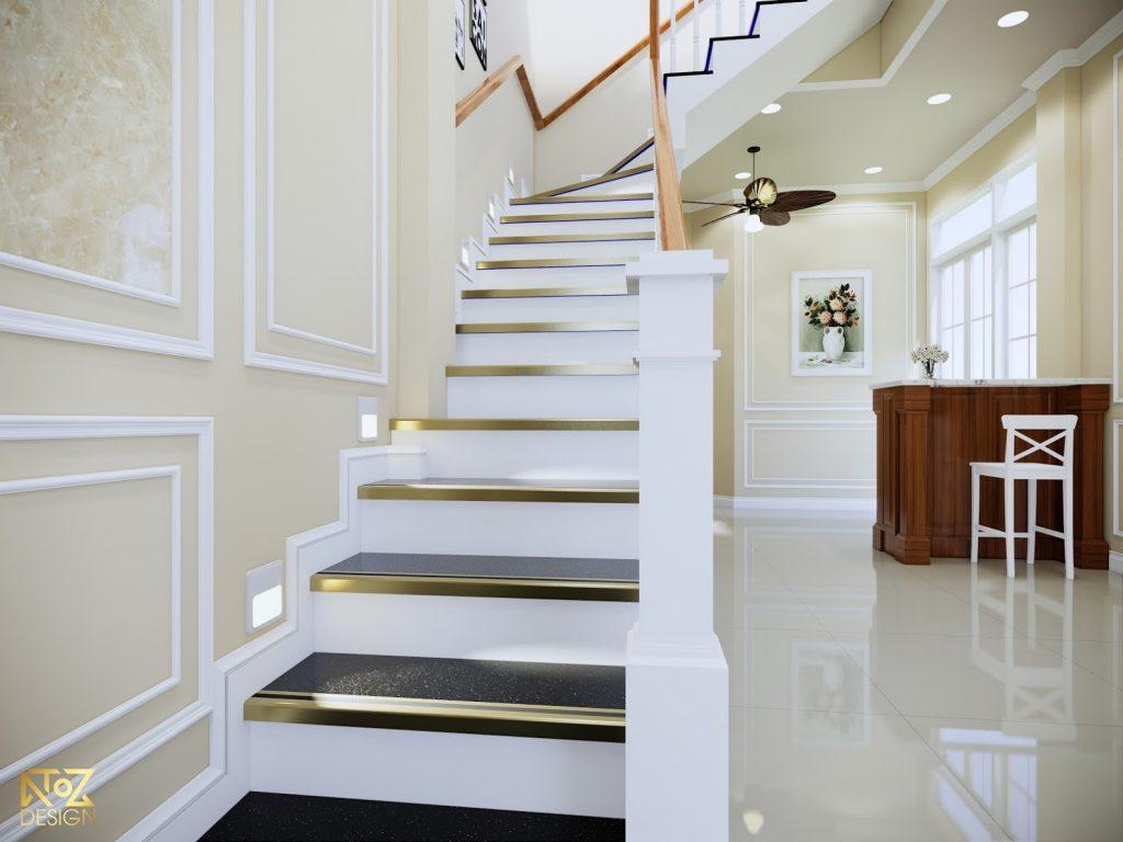 Cầu thang có thiết kế lối đi rông rãi thuận tiện cho việc đi lên xuống