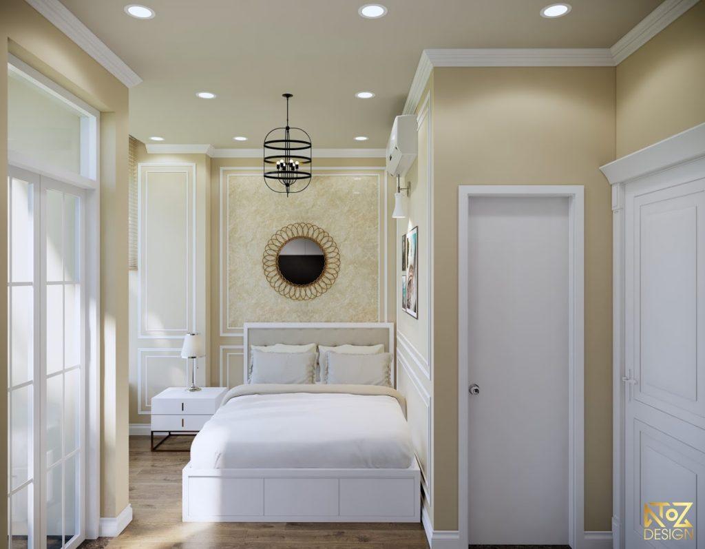Phòng ngủ được phối 2 màu trắng và kem nhẹ nhàng giúp mang lại những giấc ngủ sâu