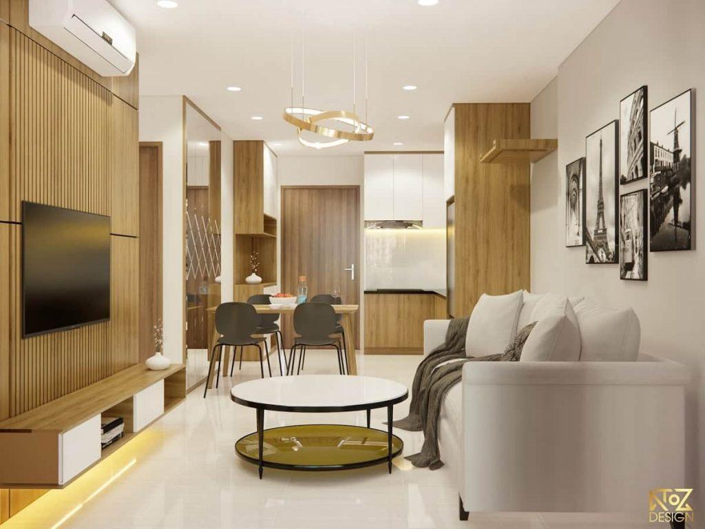 Nội thất được thiết kế với tông màu nâu trắng giúp tạo điểm nhấn cho căn hộ
