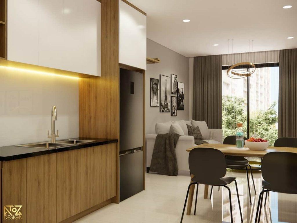 thiết kế phòng khách căn hộ 70m2 2 phòng ngủ