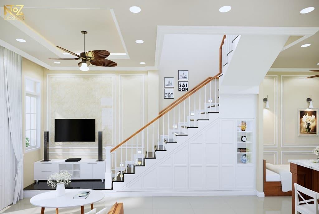 Ý tưởng thiết kế phòng khách nhà ống có cầu thang