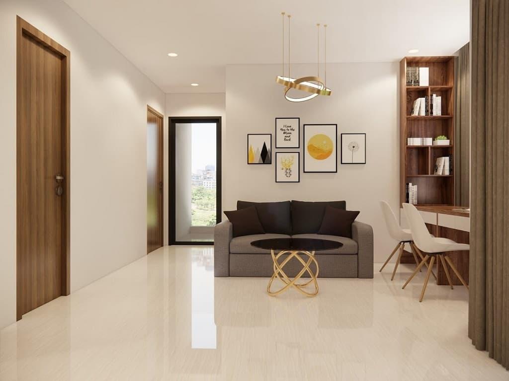 thiết kế phòng khách phong cách tối giản